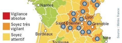 #Neige : alerte orange sur 25 départements de l'Est de la France
