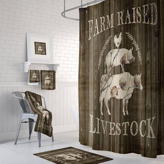 Farm Raised Livestock Shower Curtain Farmhouse Style