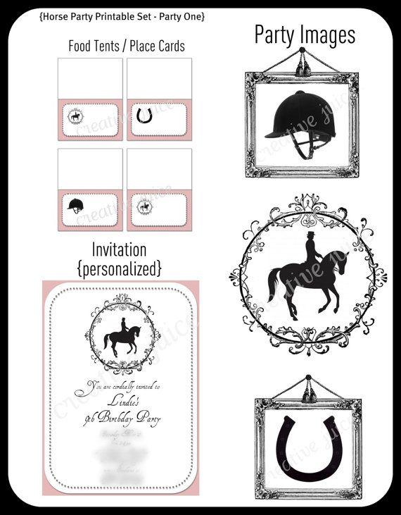 printable party collection  english horseback riding {girl}   full collection on etsy