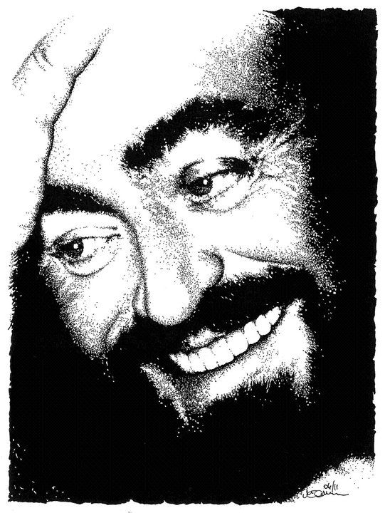 """MAILART ...alla mia amata Modena"" 04.2011 China su carta 200 gr. - dim. 15x20 cm #portrait #art #pavarotti #opera #italy"