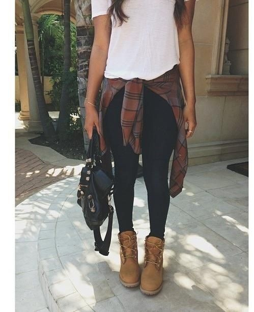 Tartan plaid shirt, skinny black jeans, brown boots, white tshirt outfit, grunge hobo chic