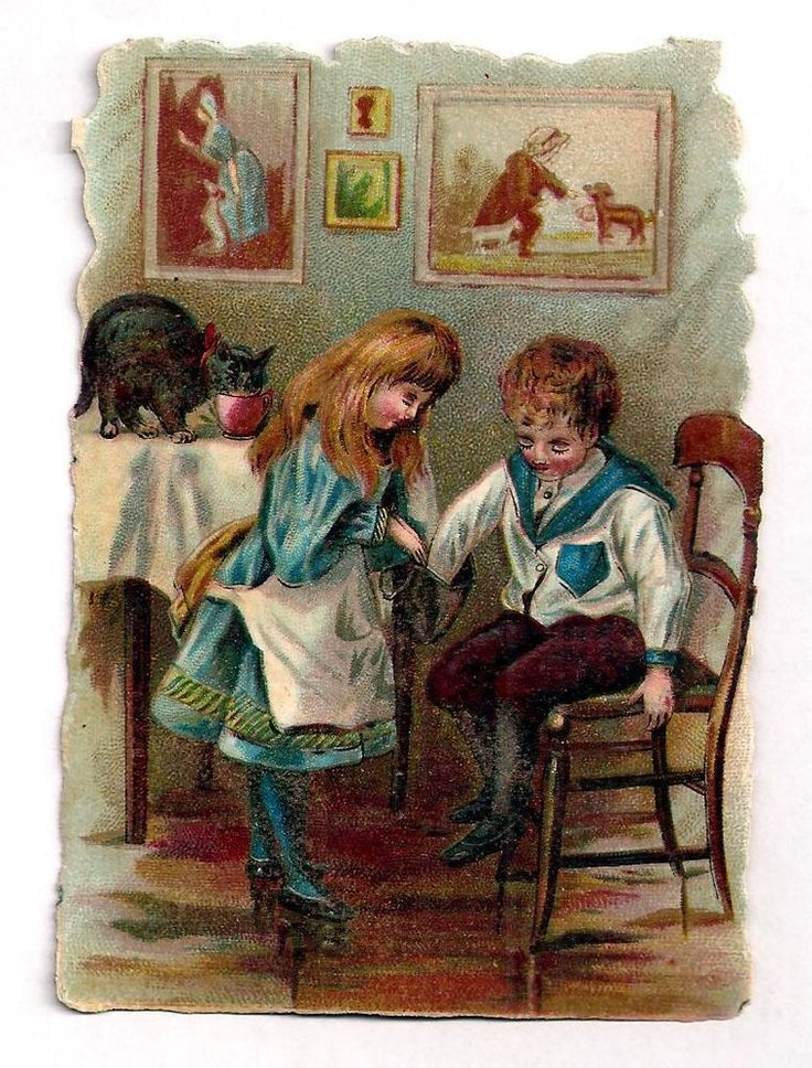 L05 - VICTORIAN SCRAP - BOY & GIRL WITH PURSE - CAT DRINKING TEA - DIECUT OBLATE