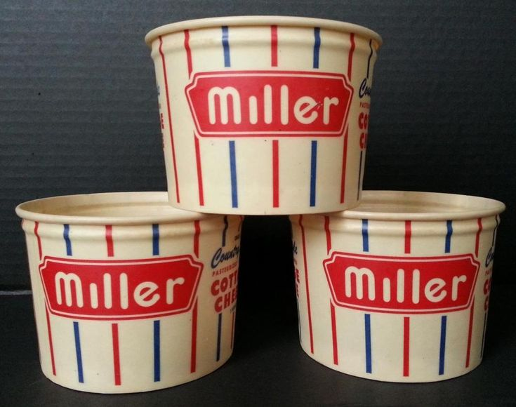 3 Vintage Miller Dairy Country Style Cottage Cheese Containers Cambridge City,In #MillerCountryStyleCottageCheese