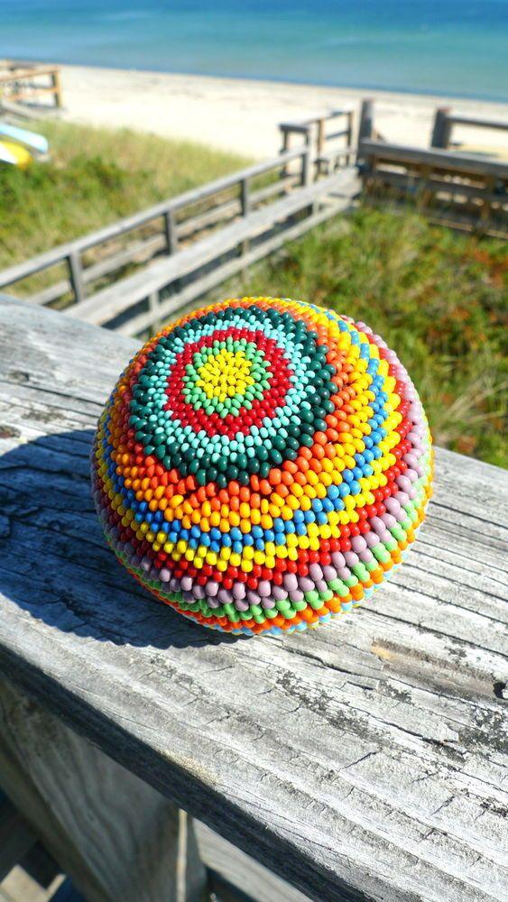 Handmade Beaded Ball Sphere #3 COLORFUL Home Decor  #Handmade