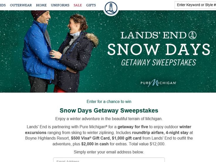 Enter the Lands' End Snow Days Getaway Sweepstakes for a chance to win a 5-day/4-night trip for four to Northern Michigan!