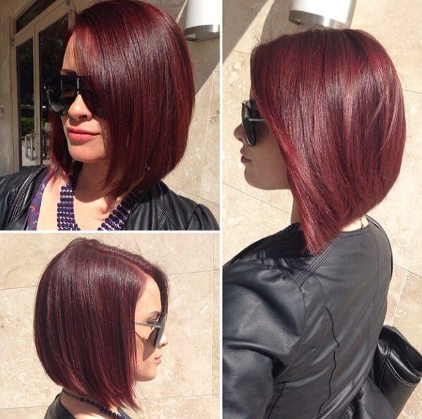 Dark red angled bob | Women Short Haircuts | Pinterest ...