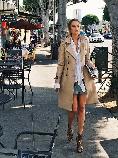 British artist Jessica May Underwood wears a Burberry trench coat on Larchmont Boulevard in LA