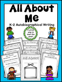 This fun All About Me writing project is perfect for introducing autobiographical writing and a great way to start the school year. Each page leaves room for basic sentence or fill-in-the-blank writing and illustrations. The book includes the pages listed below.* Title Page* My Family* My Friends* My House* My Room* My Favorites* 5 Facts About Me* School Days (all about school)* My Pets (or the pets I wish I had)* My Best Day* What I Do For Fun* When I Grow Up