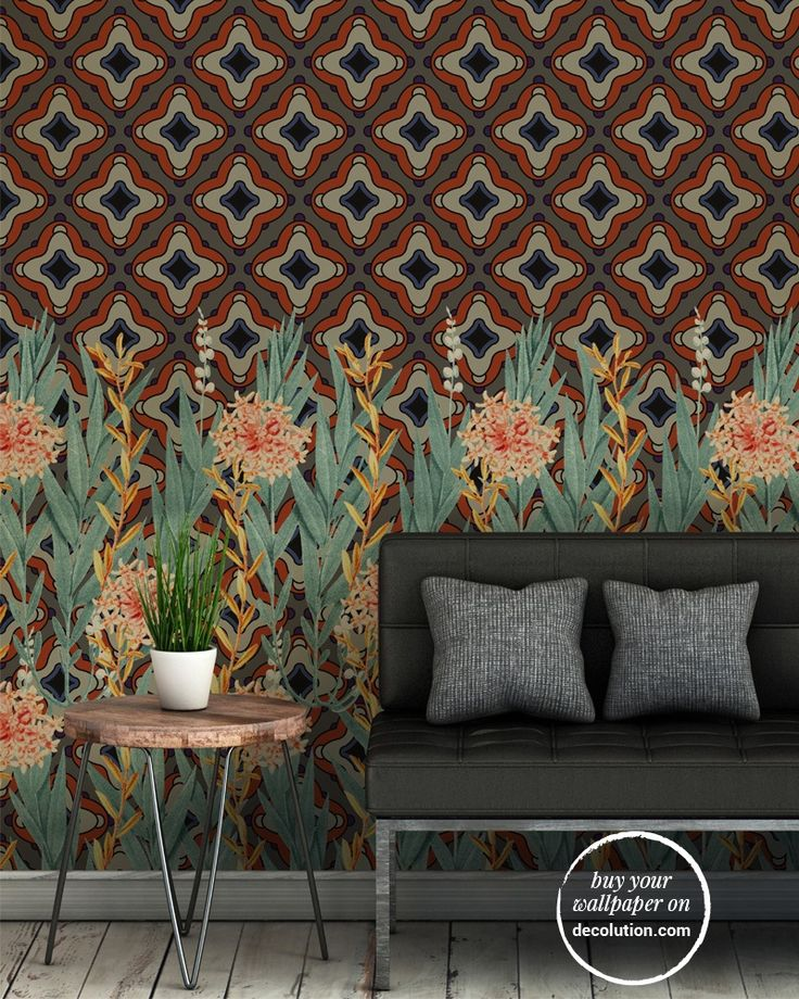 Topkapi - Floral elements contrasting with a geometric oriental themed background; a design providing strong decorative impact ideal for use in out-of-town environments. www.decolution.com #wallpaper #cartadaparati #cartedaparati #papelpintado #papierpeint #tapete #wallcovering #designityourself #DIY #wallpapershop #wallpaperonline #wallcovering #interiordesign #homedecoration #home