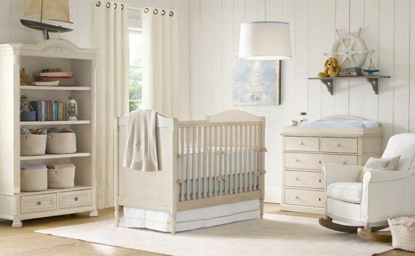 babyzimmer gestalten creme weiß baby blau