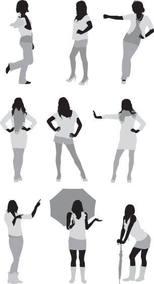 Vectores libres de derechos: Multiple images of women in different…