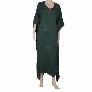 Amazon.com: Caftans For Plus Size Women Dark Green Embroidered Tunic Rayon Dresses from India: Clothing