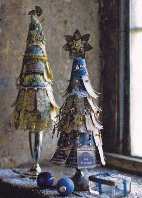 Scrap Paper Christmas Trees   Gorgeous!!