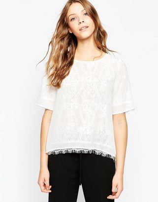 Greylin Illusion Lace T-Shirt - Shop for women's T-shirt - white T-shirt