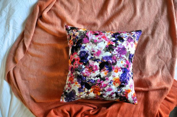 Vibrant Watercolour Floral Print Envelope Cushion by trimandthread