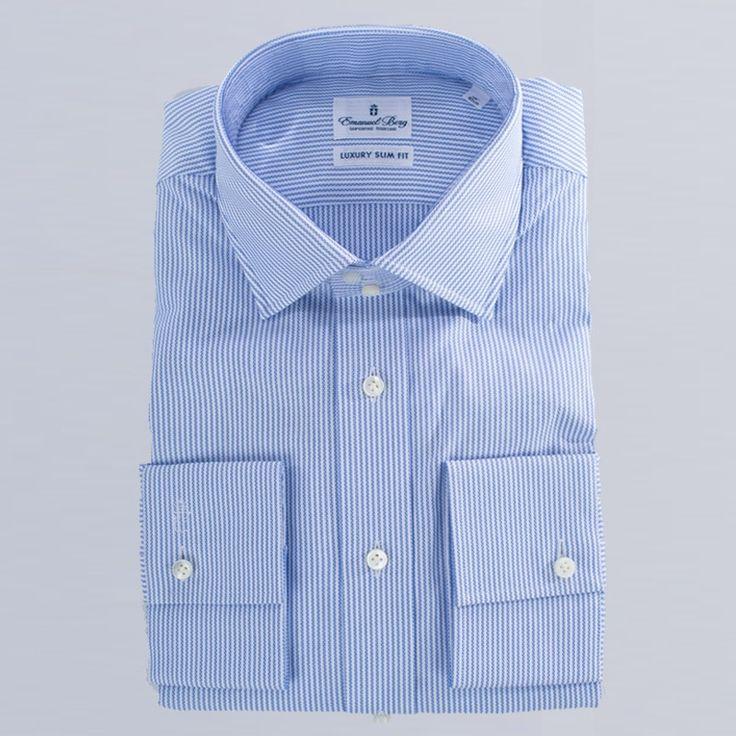 Emanuel Berg  stripe print cotton shirt  PERFECT DRESS SHIRT LUXURY SLIM FIT