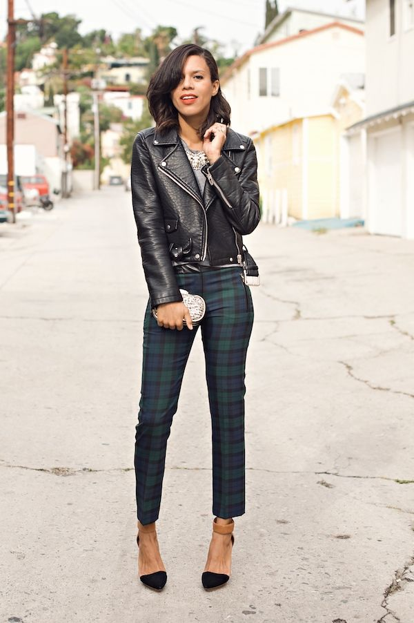 holiday plaid | plaid pants, leather jacket, statement necklace http://www.grasiemercedes.com/style-me-wears/holiday-plaid/