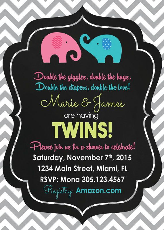 18 best Twin Monkey Baby Shower Invitations images on Pinterest