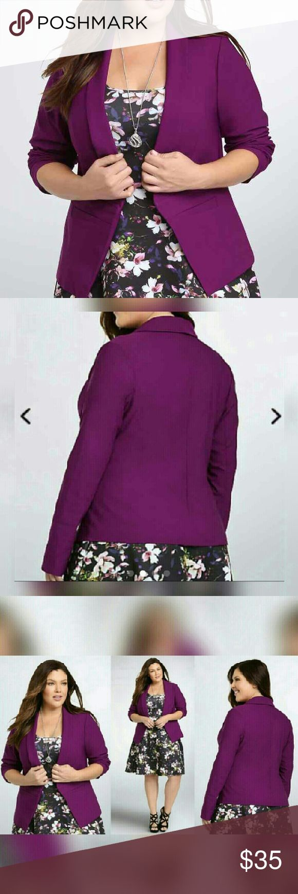 """torrid cut away blazer EUC! Only worn once! ?? I also have the dress for sale in another listing.   """"This blazer is an easy outfit topper to throw on and super lightweight. Eye-popping purple punches up the office-ready design, while the sleek open front, figure-defining seams, and faux pockets will make you the star of any water-cooler discussion.""""   Torrid size 3/3x (22W-24W) torrid Jackets & Coats Blazers"""