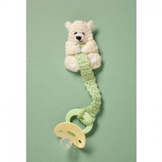 Crochet Teddy Pacifier Holder Pattern