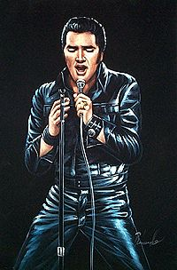 They used to sell these on the side of the road - Velvet Elvis paintings