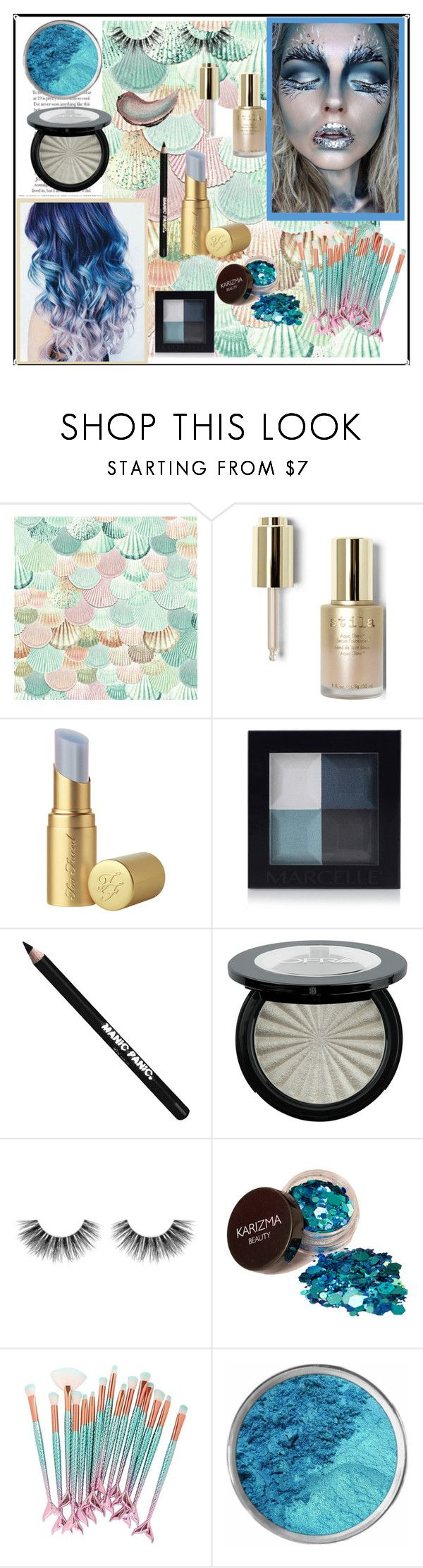 """""""Siren Makeup"""" by youngsbones ❤ liked on Polyvore featuring beauty, Stila, Too Faced Cosmetics, Manic Panic NYC, Velour Lashes and Butter London"""