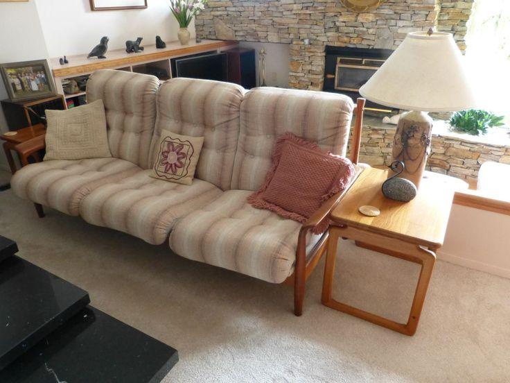 1980s Teak 3 seat sofa - side view