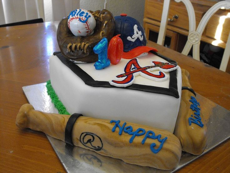 Braves birthday cakes | Home plate made from cake... the rest is sculpted from cereal treats.