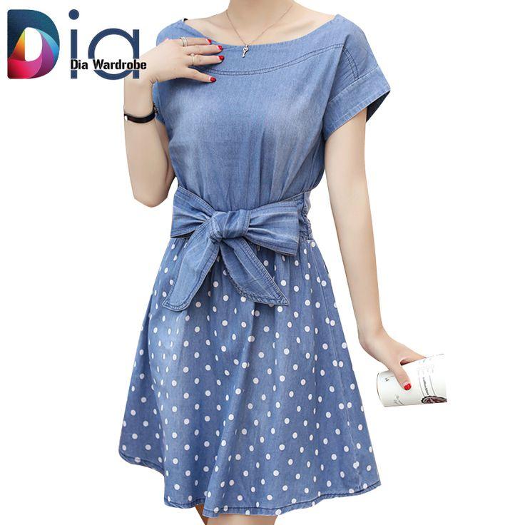Купить Диаметр Летний Новый Slash Шеи Dot Pattern Лук Пояса Джинсовые женские Платья Повседневная…