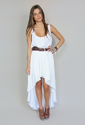 White mullet dress- simple and classy.