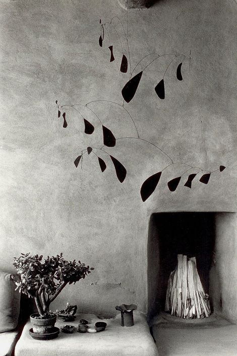 Mobile by Alexander Calder at Georgia O'Keeffe's house in Abiqui, New Mexico, 1980. Photograph by Myron Wood (1921-1999).