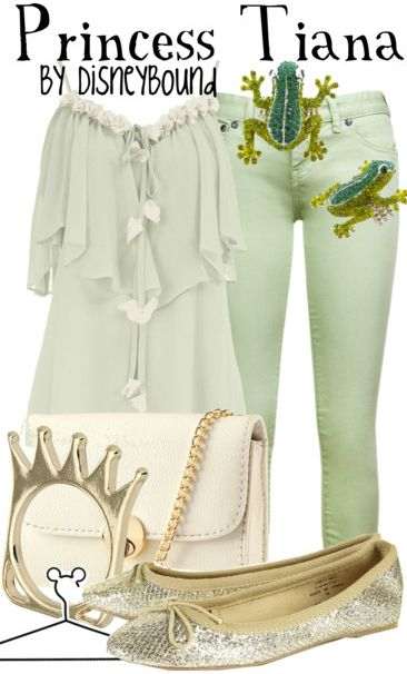 """""""Tiana"""" ~ Disney's Princess and the Frog inspired this fresh, Jade green outfit attire. Designed by Leslie Kay or also known as the designer of Disneybound outfits. Can be found on Polyvore or her personal shop or  tumblr account."""