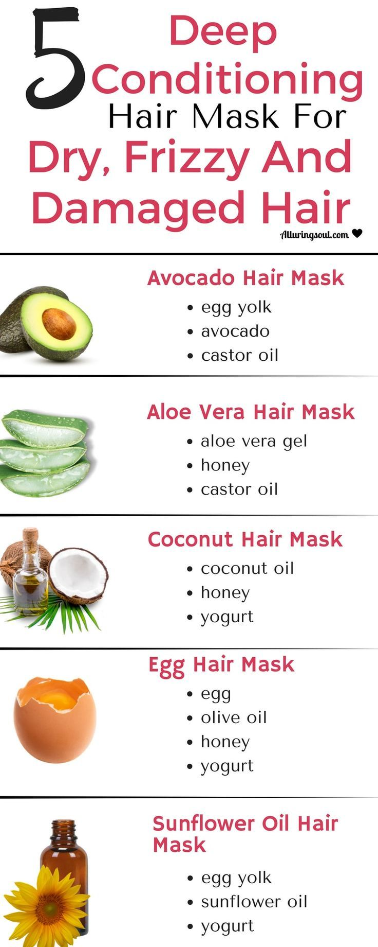 5 Deep Conditioning Hair Mask For Dry Frizzy Damaged Hair