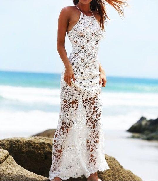 Maxi evening wedding long bride crochet sexy dress by CopperLife