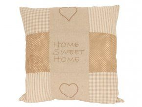 Polštářek 50 x 50 cm Sladký domov - patchwork béžový