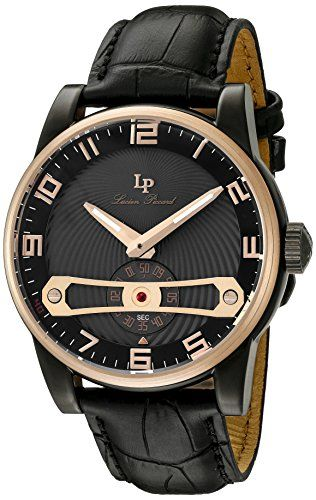 Lucien Piccard Men's 'Bosphorus' Quartz Stainless Steel and Black Leather Casual Watch (Model: LP-40046-BB-01-RB)