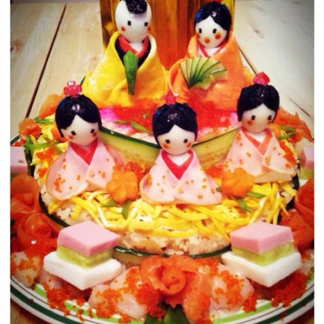 娘の初節句に♪新米ママ、頑張りましたー\(^o^)/ - 291件のもぐもぐ - ちらし寿司でお雛様ケーキ♡ by mina0906