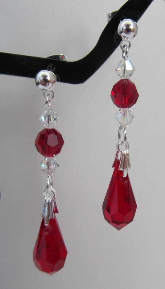 Siam Red Teardrop Earrings by MoYuenCreations on Etsy, $15.00