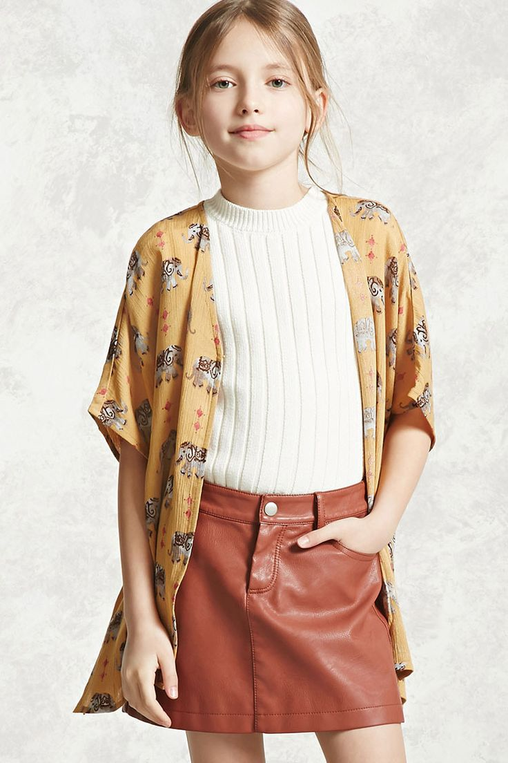 Forever 21 Girls - A woven gauze kimono featuring an allover elephant print, open front with a concealed hook-eye closure, short dolman sleeves, and vented sides.