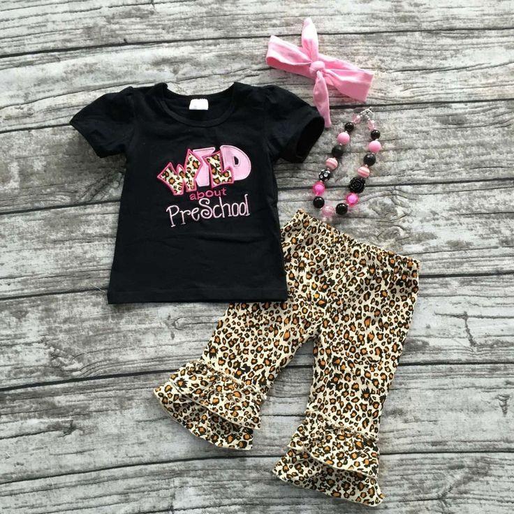2016 Summer terug naar school outfit meisjes schattige zwarte kleren luipaard preschool kinderen capri set Baby Kids met toebehoren