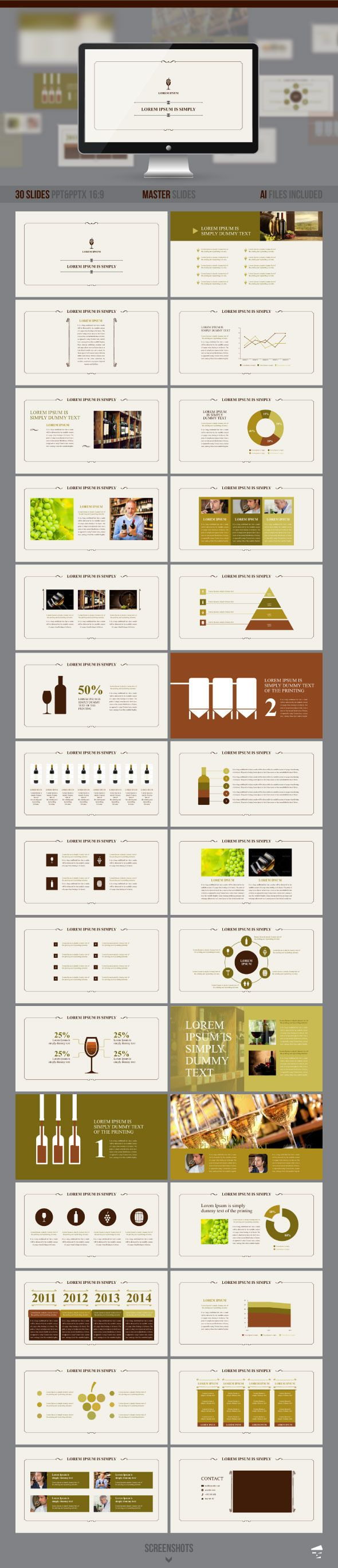 PowerPoint Template #powerpoint #powerpointtemplate #presentation Download: http://graphicriver.net/item/presentation-of-wine/8791818?ref=ksioks