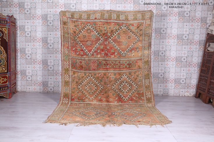Moroccan Rug 6 1 Ft X 9 5 Ft In 2020 Vintage Moroccan Rugs Moroccan Rug Vintage Moroccan
