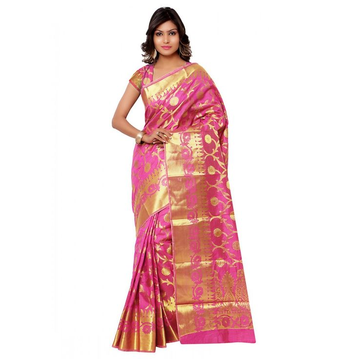 Pink Silk Party Wear #Saree With Blouse- $41.95
