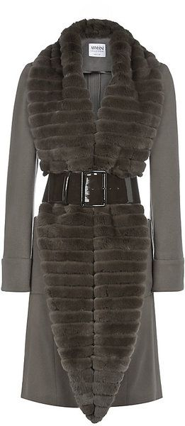 Armani Fur Collar Belted Coat - Lyst
