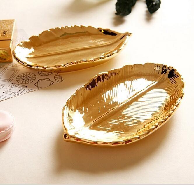 15x9x3 см Современные позолоченный лист керамические хранения закуски пластины десерт ювелирные изделия блюдо ювелирные изделия сделать хранения стол украшения