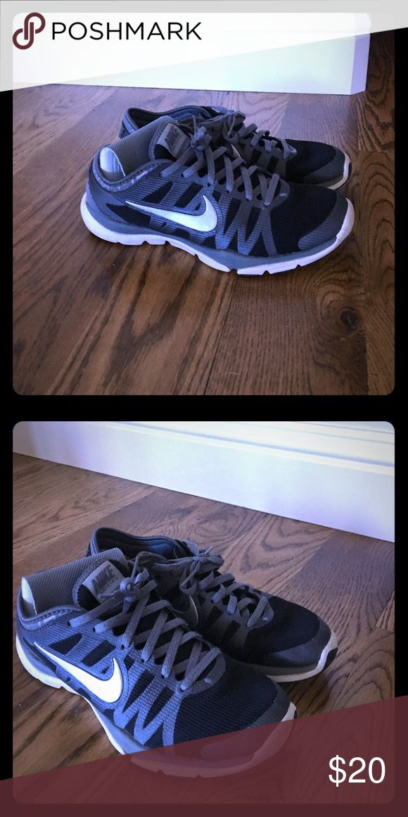 Nike volleyball shoes Black with grey outline and trim. Good condition and worn for one season. Nike Shoes Athletic Shoes