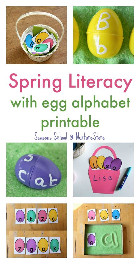 Spring literacy activities that are fun! Egg letter games, printable egg alphabet, spring writing prompts, spring poetry for kids