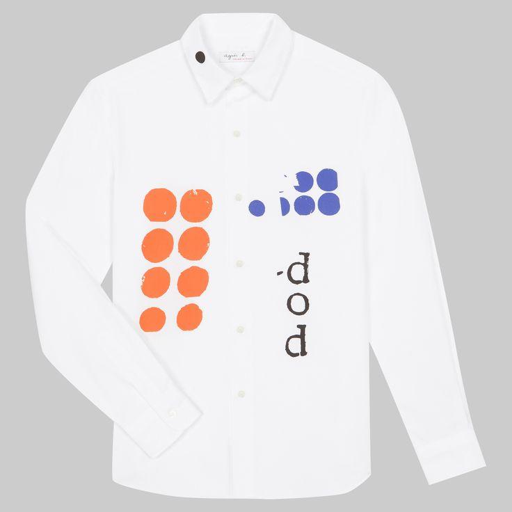 chemise tom Fury chemise en popeline souple et douce avec dos rehaussé d'une sérigraphie exclusive de Dominique Fury pour agnès b.