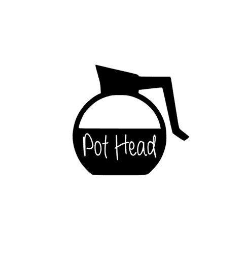 Pot Head Coffee Pot Decal Pun Sticker Laptop By