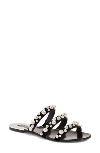 76546d0ed15 Free shipping and returns on Leith Stunner Embellished Strappy Slide Sandal  (Women) at Nordstrom.com. Pearly beads shimmer in heavenly clusters along  the ...